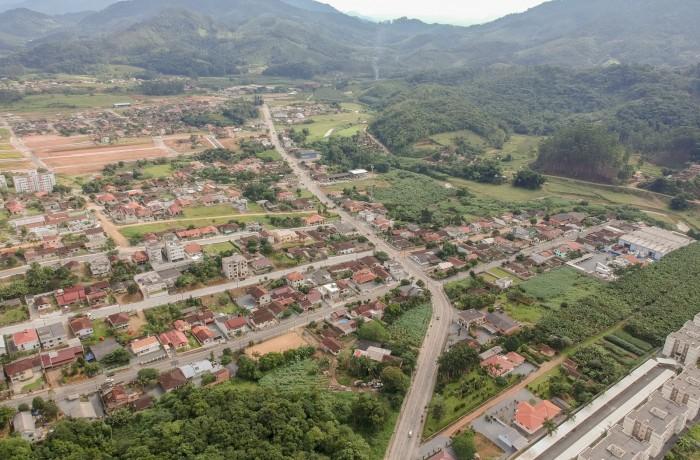 Vista aérea dos bairros Jaraguá 99 e Jaraguá 84(foto Prefeitura de Jaraguá do Sul)