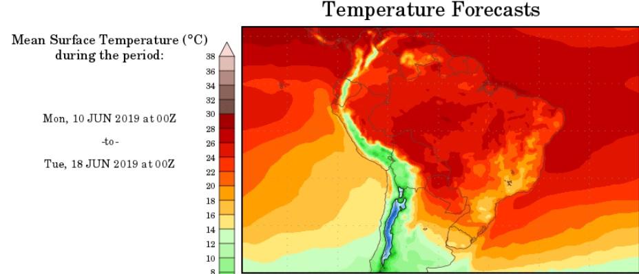 Figura 1 – Previsão de temperatura média no período de 10 a 18/06.