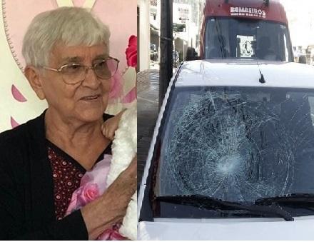 Idosa atravessava a rua, na faixa de pedestres, mas veículo da prefeitura não parou. Foto: Facebook/Reprodução/Polícia Militar