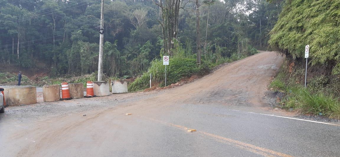 Acesso à localidade do Morro do Schmidt, será interditado. Foto: Prefeitura de Guaramirim