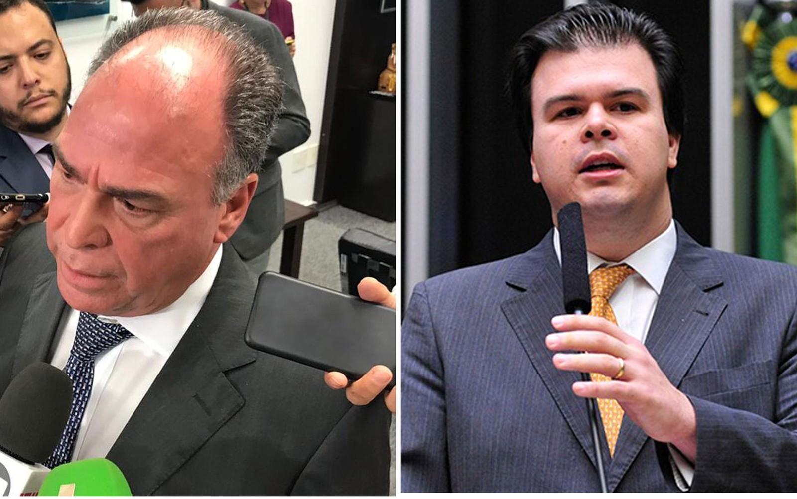 Senador Fernando Bezerra Coelho (MDB-PE) e o filho dele, deputado Fernando Coelho Filho (DEM-PE), ambos alvos de operação da PF no Congresso — Foto: Gustavo Garcia/G1; Câmara dos Deputados/Divulgação