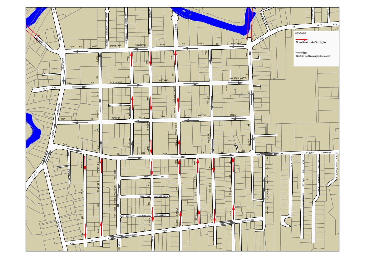 Mapa com alterações no sentido de ruas no bairro Vila Nova. Imagem: Prefeitura de Jaraguá do Sul
