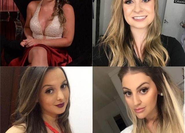 Ana Carolina Basso, Bruna Silvestro, Bruna dos Santos e Paloma Correa estavam no mesmo carro e morreram no acidente mais grave do feriadão em Santa Catarina — Foto: Facebook/Instagram/Reprodução