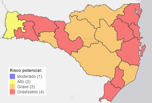 Mapa com classificação de risco por região – Foto: Governo de Santa Catarina