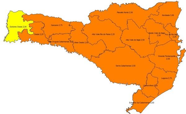 Mapa de risco do governo de SC tem 15 das 16 regiões em situação grave em 24 de setembro de 2020 — Foto: Governo de SC/Reprodução