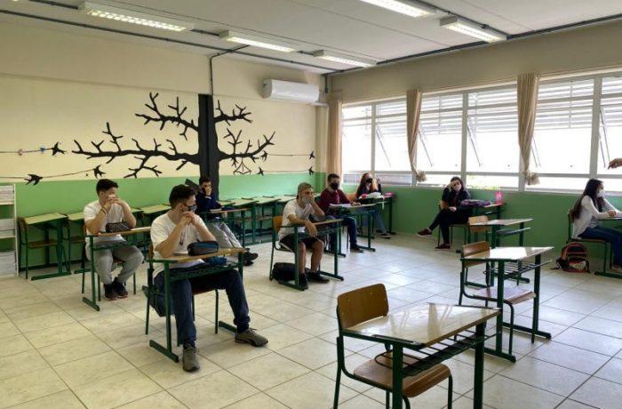 EEB Max Tavares do Amaral, em Blumenau, foi uma das primeiras escolas estaduais a voltarem com as atividades presenciais – Foto: Secretaria de Estado da Educação/Divulgação