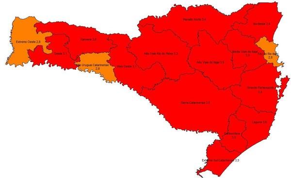 Matriz de risco da Covid-19 em 25 de novembro de 2020 — Foto: Governo de Santa Catarina/ Divulgação