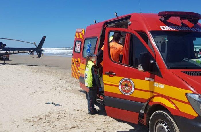 Turista do Rio Grande do Sul morreu afogado em praia do Sul de SC no domingo (21) — Foto: Corpo de Bombeiros/Divulgação