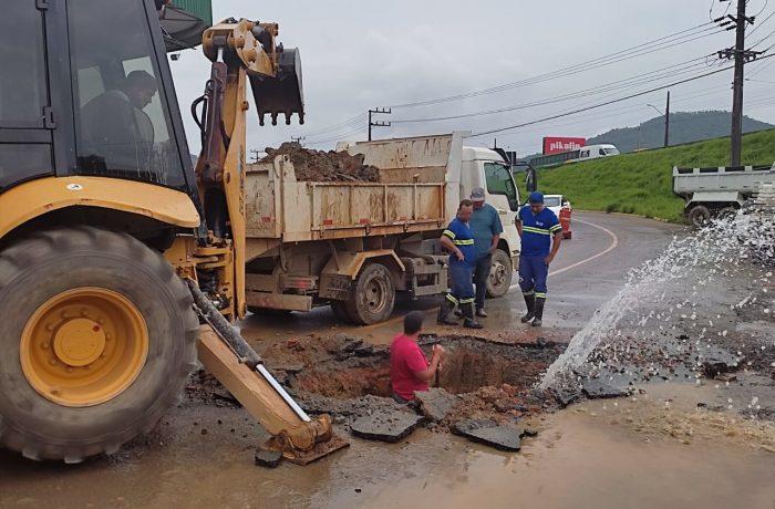 Rede de água rompe e causa desabastecimento em Guaramirim